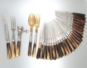 Antique French Horn & Silver Dinner & Dessert Knives, Carving, Gigot, Salad Set
