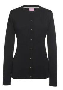 BROOK TAVERNER BLACK FINE KNIT SEATTLE CREW CARDIGAN BLACK