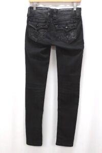 black distressed ROCK REVIVAL Ena jeans skinny flap pockets stretch denim 25