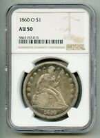 1860 O Seated Liberty Silver Dollar NGC AU 50