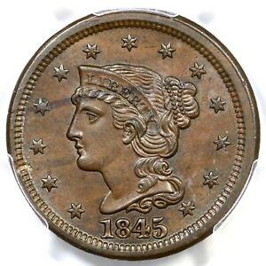 1845 N-9 R-2 PCGS MS 63 BN CAC Braided Hair Large Cent Coin 1c