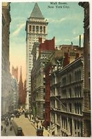 Old Vintage Divided Back 1912 Postcard Wall Street New York City NY Unposted