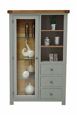 Camborne Painted Oak Combination Glass Display Cabinet Sea Green / Sage 3 Drawer