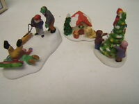 Lemax Porcelain Figures Lot of 3 Winter Fun,Trimming Tree, Puppy House GUC