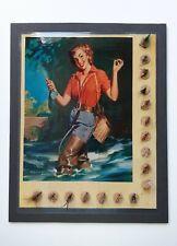 Vintage lot of 17 fishing flies on display card