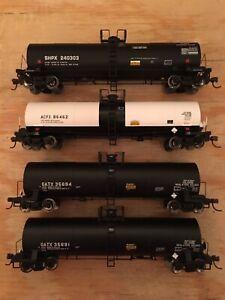 HO Lot of 4 Atlas 17,360 Gallon Tank Cars ACFX GATX SHPX NS CSX BNSF UP KCS CN