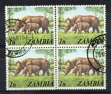 ZAMBIA = 1975 General Issue, 1n Rhino`s. SG226. Block of 4. Fine Used. (b)