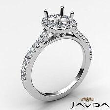 Diamond Engagement Cushion Cut Semi Mount Halo Prong Ring 18k White Gold 0.35Ct