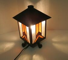 "Aged Iron Outdoor Lantern Light Stain Glass Style With Bulb 10"" Tall"