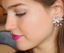 Kate Spade SPARKLES Glitter Gala Pinwheel Flower Stud Earrings & amber drop LOT