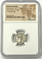 Roman Empire Commodus AD 177-192 Silver Denarius NGC XF