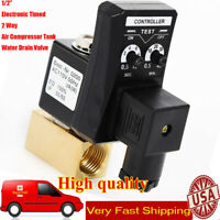 """1/2"""" Automatic Electronic Timed 2 Way Air Compressor Tank Water Drain Valve 110V"""