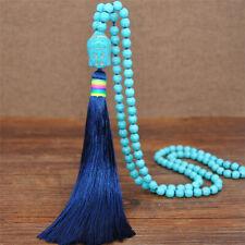 Buddha Handmade Turquoise Tassel Necklace Jewelry Wedding Pendant Women Classic
