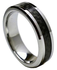 Tungsten Carbide White Carbon Fiber Ring Men Engagement Wedding Band Silver 5-15