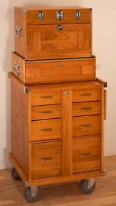 Gerstner International GI-T20-M20-R20 3-Piece Oak Tool Chest Base Cabinet Set