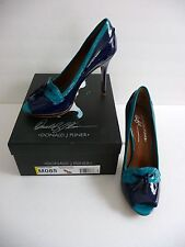 Donald J. Pliner NIB Penni 2626 Navy and Turq Patent Pumps Heels Peep Toe $245
