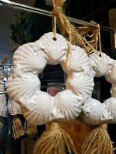 White Terracotta shell wreath Ornament, Coastal tree decoration, Shell Ornament