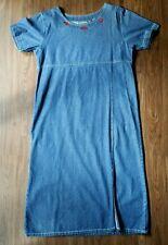 Womens Nick & Sarah Lady Bug Embroidered Denim Dress, Size Large