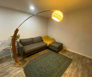 Vintage ARC FLOOR LAMP Mid Century Marble Base Wood MCM Tall Light