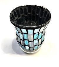 "4"" Round Decorative Sparkling Turquoise Textured Glass Vase Diameter 3"" 3/8"""