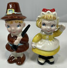 Vintage Mid Century Japan Ceramic Thanksgiving Pilgrims Salt And Pepper Shakers