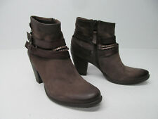 MJUS BROWN LEATHER ANKLE BOOTS BUCKLE Sz WOMEN'S 10/41 EUC