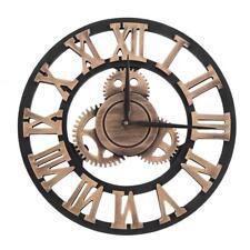 30cm Antique Wall Clock Rustic Roman Numerals 3D Wheel Gear Round Silent Wooden