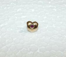 14K Yellow Gold Retired Authentic PANDORA Ruby Puffed Heart Bead Charm #750294