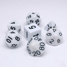 Sided Dungeons & Dragons RPG Poly Dice Game Role Playing Game 7Pcs White