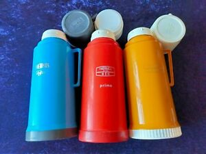 3 x Thermos Flasks Blue Vogue / Red Prima / Yellow 250 Made In England Trio VGC