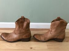 Frye Women's Pull On Ankle Booties Size 10 Leather Tan Nice High Quality Cowboy