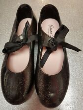 Girls Tap Dance Shoes Black Sparkle Jelli Uppers Capezio Future Star UK Size 1.5
