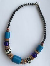 Vintage Glass & Resin Tribal Ethnic Beaded Statement Necklace Blue Red Stripes