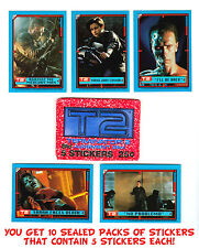 10 Topps Wax Pack Terminator T2 Judgment Day Movie 50 Sticker Cards ARNOLD RETRO