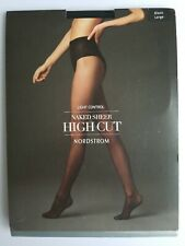 Nordstrom Light Control Naked Sheer High Cut Pantyhose Size L Black