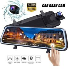NEW 10'' HD 1080P Touch Screen Rearview Mirror Backup Camera Dual Front & Rear