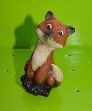 "New listing 5"" Red Fox Sitting Yard Statue Garden Figurine Flower Pot Stake Pick Sitter #30"