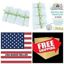 Brooklyn Bamboo Baby Washcloth, BLUE, 10-Inch by 10-Inch, 6-Pack ORGANIC Towels