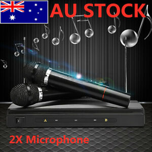 2X Wireless Handheld Microphone Mic System Speaker Karaoke DJ KTV Singing Home