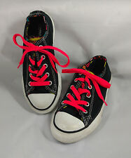 Converse All Star Girls Size 12 Black White 5 Tongues Chucks Pink Laces