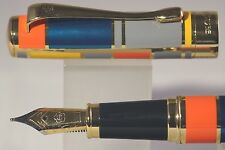 New Luxury Hero No. 767 Art Deco Window Pane Medium Fountain Pen with Gold Trim