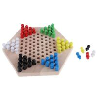 1 Set Wooden Chinese Checkers Game Hexagon Checkers Game for Adults and Kids