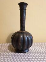 Indian Silver Inlaid Pattern Bidriware Vase In Presentation Box.