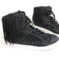 Supra Skytop Black White Sneakers Pony Hair Fringe Zebra Hi Top Suede Sz 7