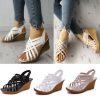 Ladies Womens Cross Lace Up Wedge Sandals Med Heel Platforms Peep Toe Shoes Size