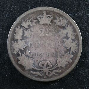 25 cents 1881H Canada Queen Victoria silver coin c ¢ quarter G-6