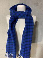 Women's Fringed Scarf Fall Winter Blue Plaid Wool Scarf NWOT