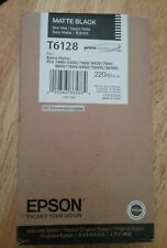 04-2018 NEW GENUINE EPSON T6128 MATTE BLACK INK 220ml STYLUS PRO 7800 9800