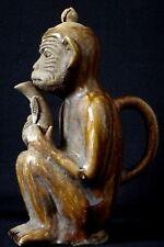 Ancienne théière grés émaillé singe Old chinese teapot monkey XIX