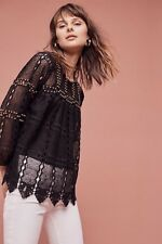 NWOT Anthropologie Auralis Studded Lace Top Blouse in Black by Maeve